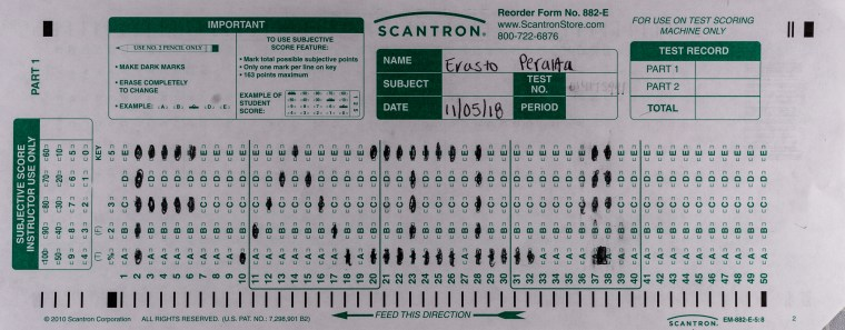 "Scantron 882-E Midterm exam by Erasto Peralta. In this midterm/artwork Peralta has used the grid of the scantron form to bubble in the word ""FAIL!"""