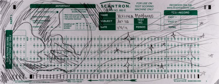 Veronica Malgonzo's Scantron 882-E Scantron Midterm showing an Earth globe and s stream of stars like the milky way falling off the globe