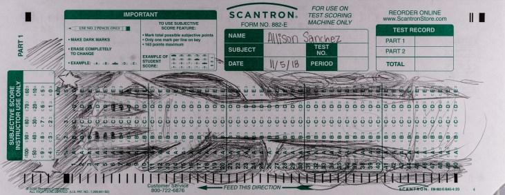 Allison Sanchez' Scantron Midterm for LBSU Art 110. Sanchez uses the length of the Scantron form to draw hand and arm against a dense pencil texture background