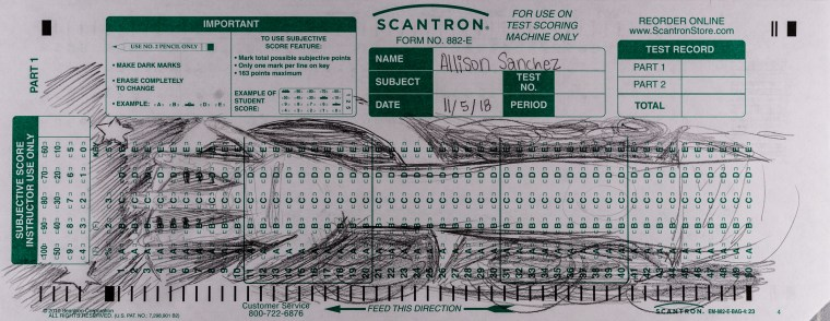 Allison Sanchez' Scantron Midterm for LBSU Art 110. Sanchez uses the length of the Scantron form to draw hand and arm against a dense pencil texture background