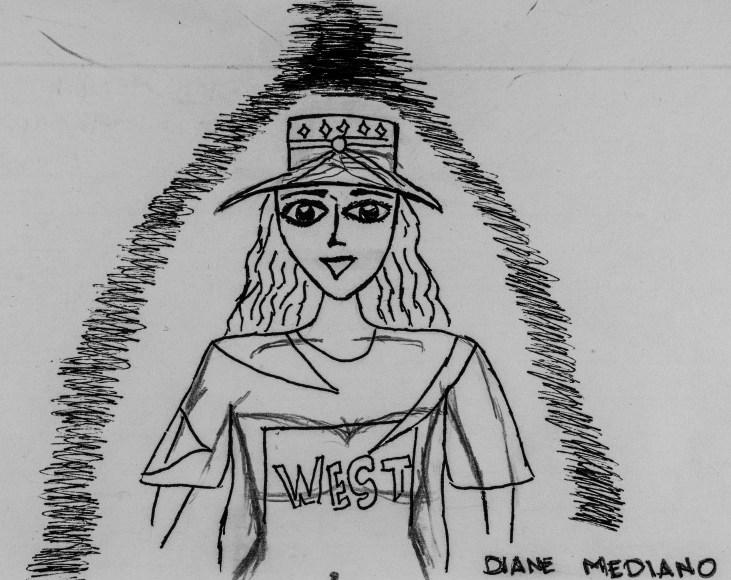 pen and ink drawing of Art 110 sage Safiya