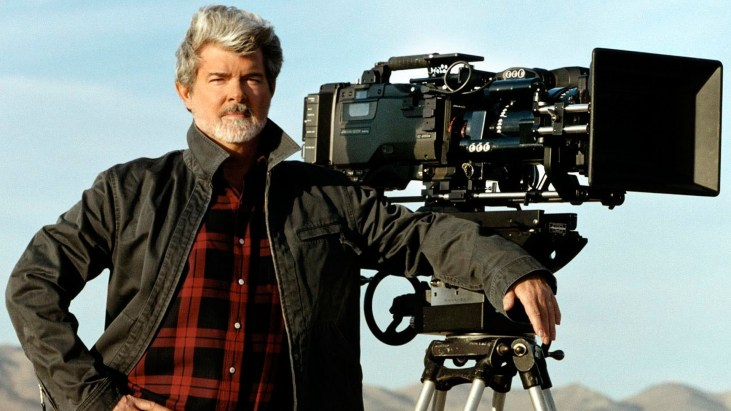 photo of George Lucas with a motion picture camera