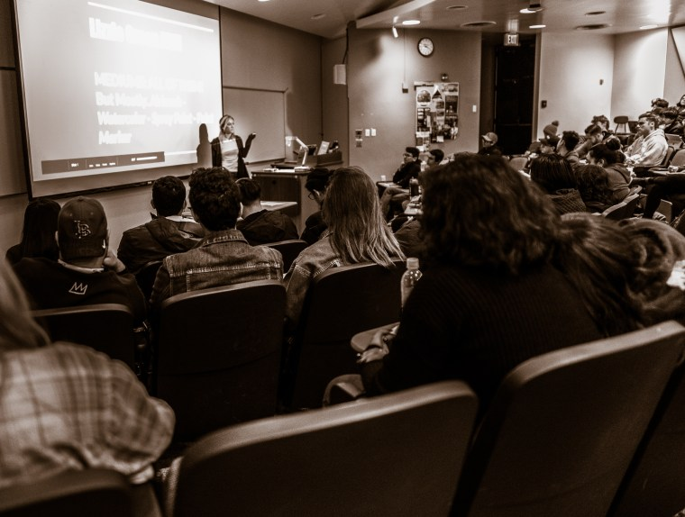 Pennsylvania-Florida-California artist Lizzie Green discusses her work with 120 students at Long Beach State University
