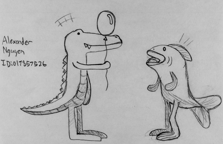 """Line drawing of Art 110 sages """"Bill & Ted"""". Bill is a person in an alligator costume, and Ted wears a fish suit"""