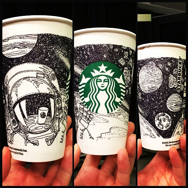 a 3-Starbucks-cup illustration of the moon landing with a Starbucks cup reflected in the astronaut's visor