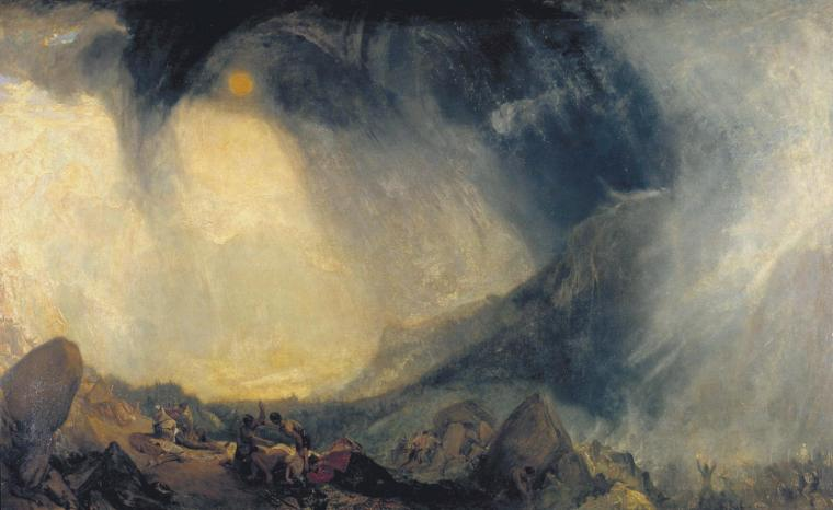 Snow Storm Hannibal and His Army Crossing the Alps by JMW Turner exhibited in 1812