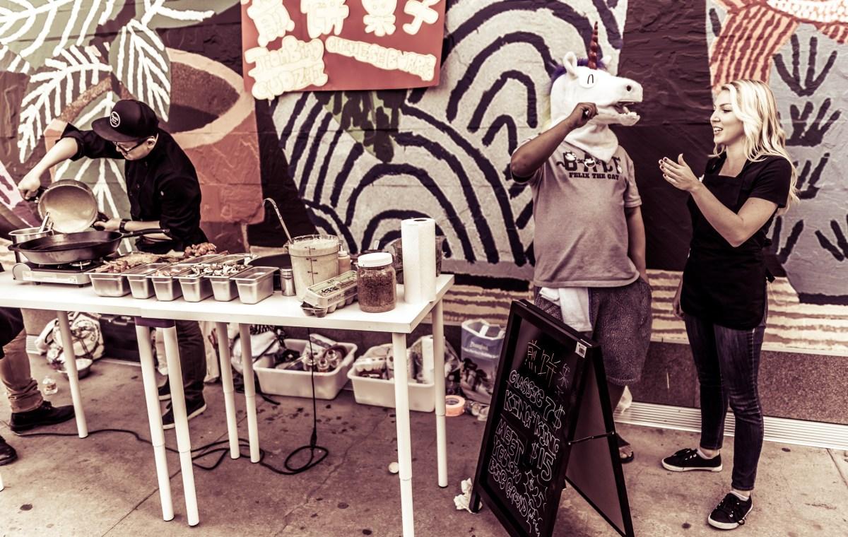Unicorn selling sidewalk lunch, 12:49pm
