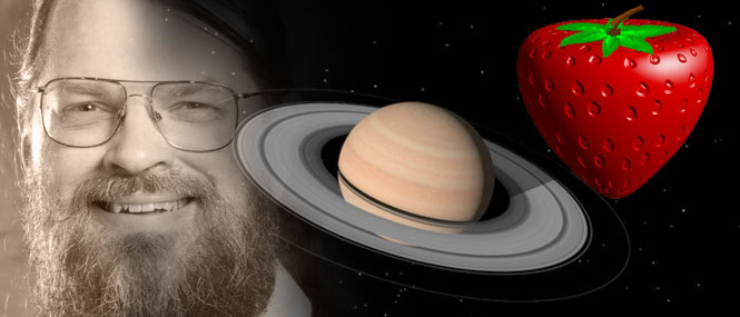 Image of Jim Blinn, Saturn, and a strawberry