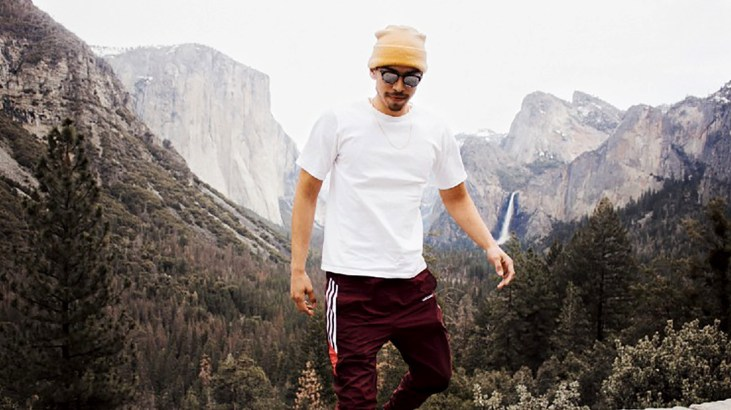 photo of artist Anthony Max Valdez hiking in Yosemite