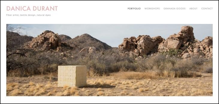 screen capture of Danica Durant's portfolio home page at https://www.danicadurant.com/
