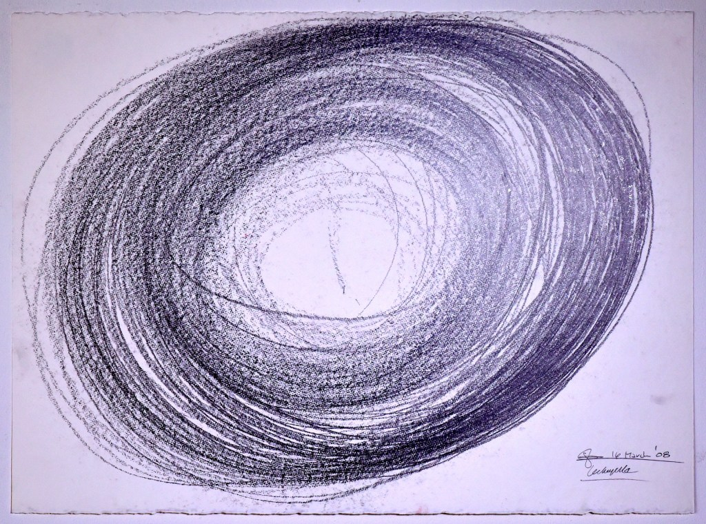 "Automatic Drawing #3, 16 March 2008, conte crayon on paper, 22x30"", Lee Tuyet Le & Glenn Zucman"