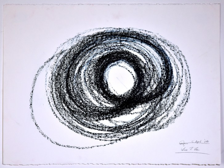 "Automatic Drawing #7, 5 April 2008, conte crayon on paper, 22x30"", Lee Tuyet Le & Glenn Zucman"