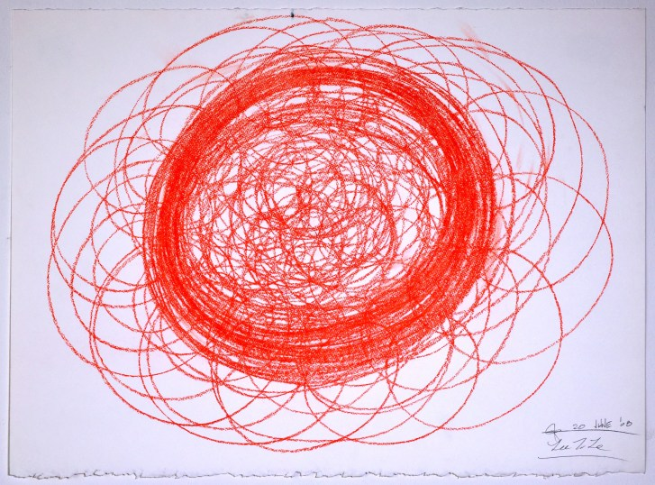 "Automatic Drawing #12, 20 June 2008, conte crayon on paper, 22x30"", Lee Tuyet Le & Glenn Zucman"