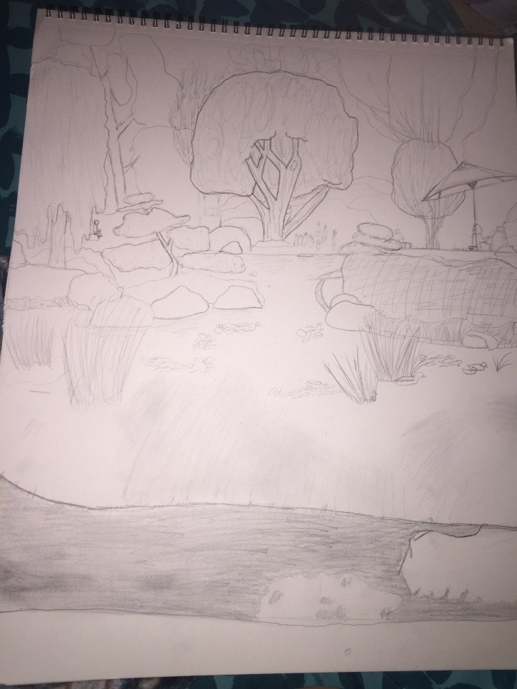 black and white pencil sketch of rocks, foliage, and water, in the CSULB Earl Burns Miller Japanese Garden by Briana Garcia
