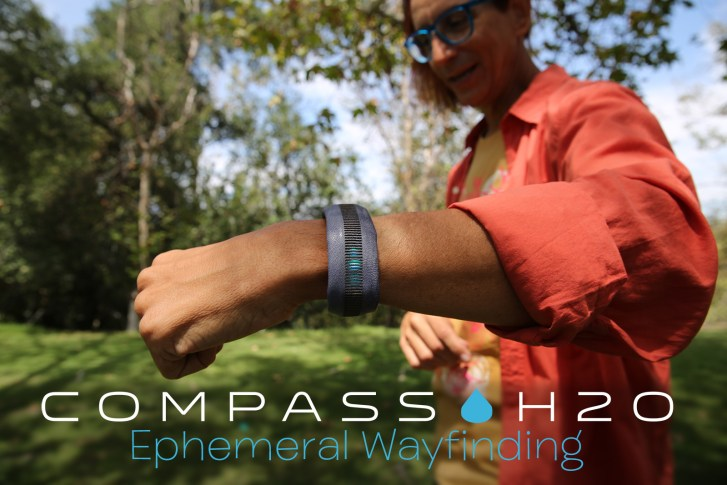 Glenn Zucman wearing the Compass H2O prototype wrist band showing navigational data via 360 degree compass band