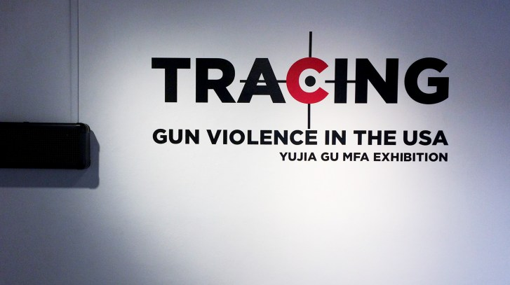 "Wall text ""Tracing Gun Violence in the USA, Yujia Gu MFA Exhibition"""