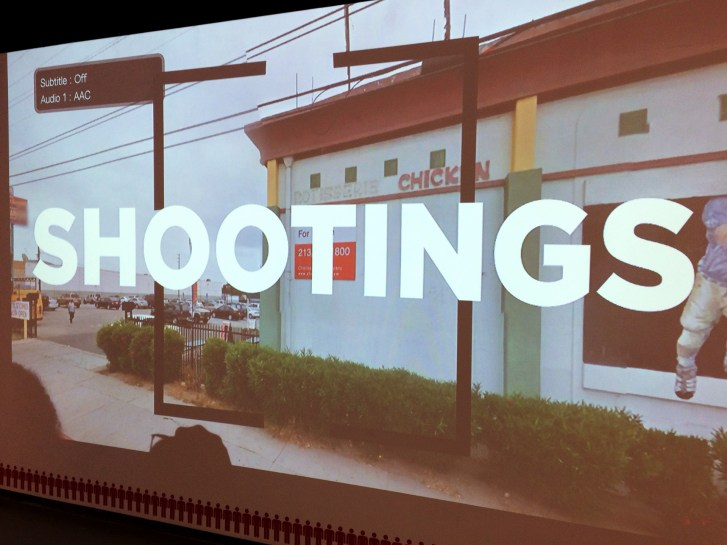 """wall projection of a Middle-American location with large superimposed text """"shootings"""""""
