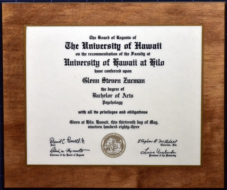 Glenn Zucman's BA diploma in Social Psychology from the University of Hawaii at Hilo, 1983