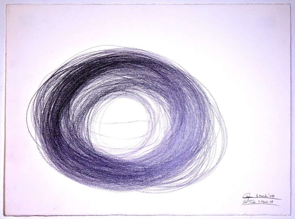 drawing composed of many circles on paper