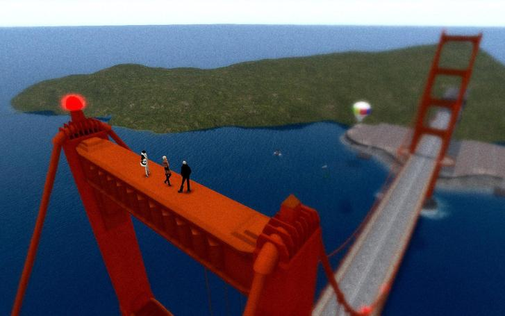 aerial view of avatars standing atop one of the towers of the Golden Gate Bridge in San Francisco, California
