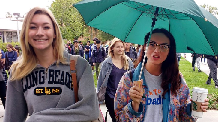 students holding umbrellas and walking across the drizzly Long Beach State University campus in April, 2016