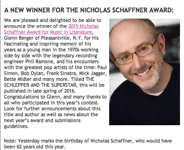 Schaffner award announcement