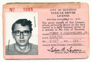 My 1973 cab driver's license