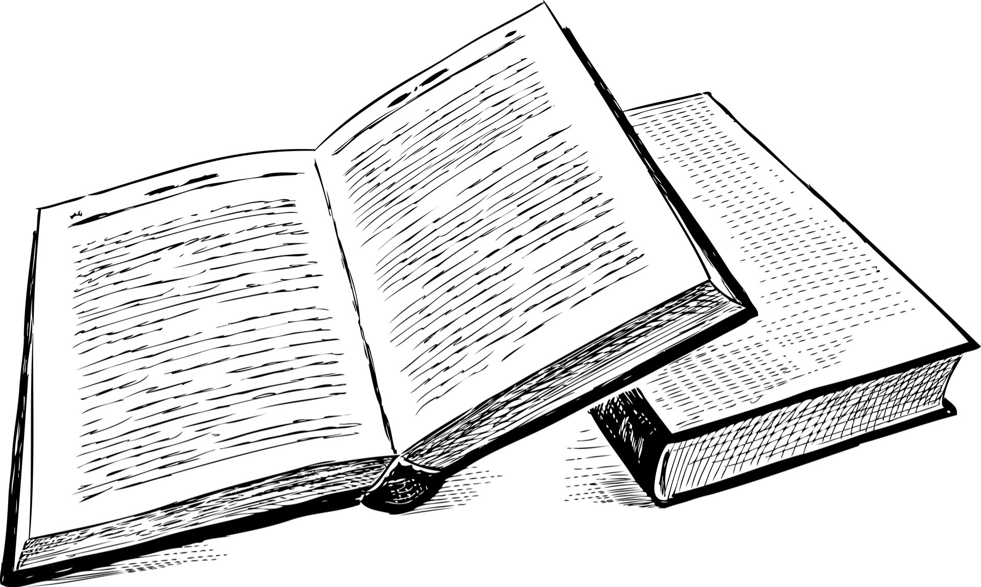 Black and white drawing of two books