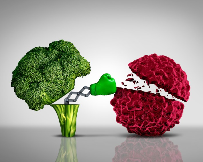 Brocoli punching a cancer cell