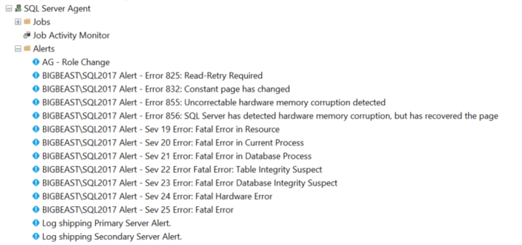 SQL Server Agent Alerts for Critical Errors