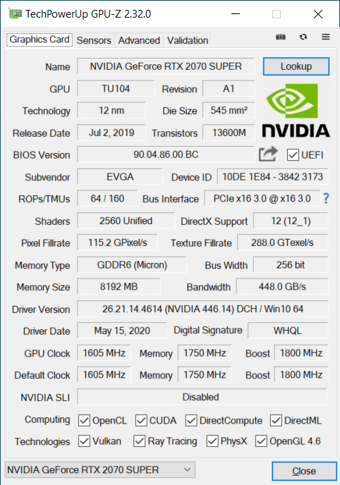 GPU-Z Graphics Card Tab