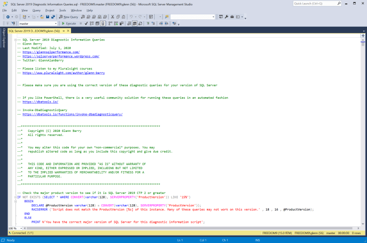 SQL Server Diagnostic Information Queries for July 2020