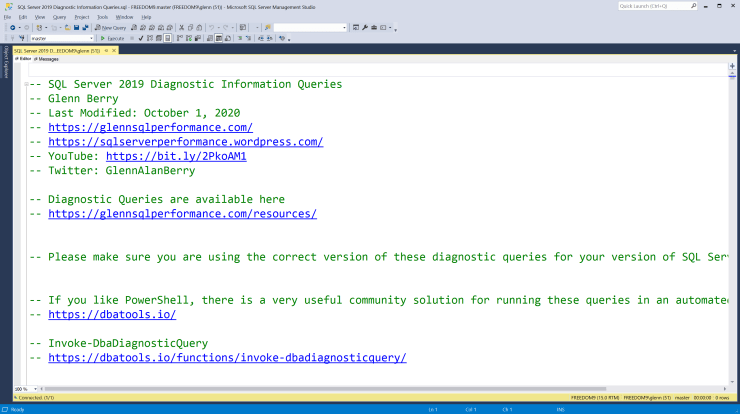 SQL Server Diagnostic Information Queries for October 2020