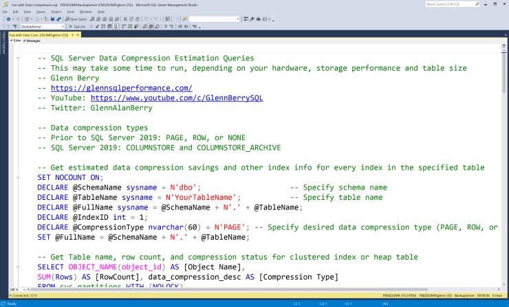 Estimating Data Compression Savings in SQL Server