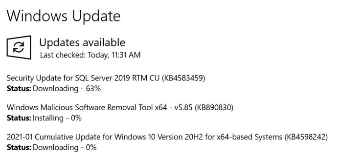 Security Update for SQL Server 2012 Through 2019 (CVE-2021-1636)