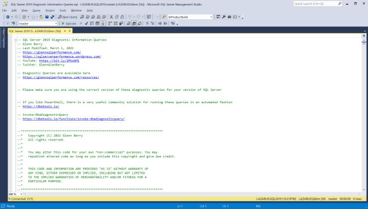 SQL Server Diagnostic Information Queries for March 2021