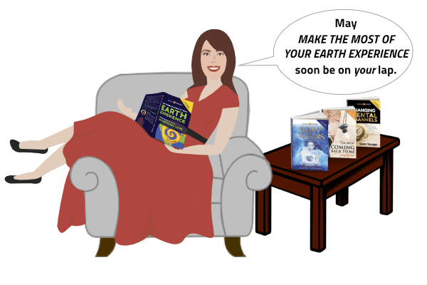"Glenn Younger-paperdoll-lounging-on-a-chair-reading-spiritual book HOW TO MAKE THE MOST OF YOUR EARTH EXPERIENCE saying-""May MAKE THE MOST OF YOUR EARTH EXPERIENCE soon be on your lap"""