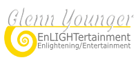logo for Glenn Younger with enLIGHTertainment. Spiritual Transformation. Divine Light. Unconditional Love. New thought. Self-explorer