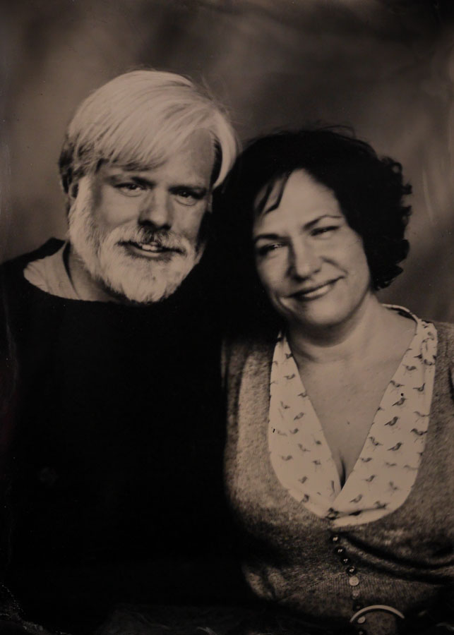 Tintype of a couple in Glens Falls by photographer Craig Murphy and his Glens Falls Art tintype studio.