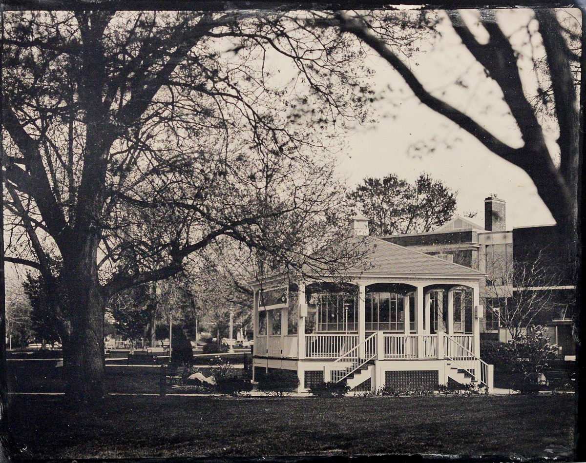 Fine art tintype of the gazebo in the city of Glens Falls city park by Glens Falls Art tintype studio