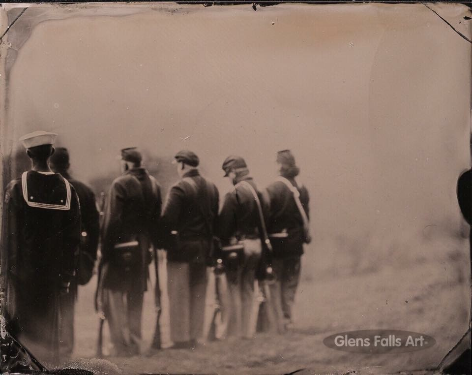 Tintype image of civil war reenactors by photographer Craig Murphy and his Glens Falls Art tintype studio.