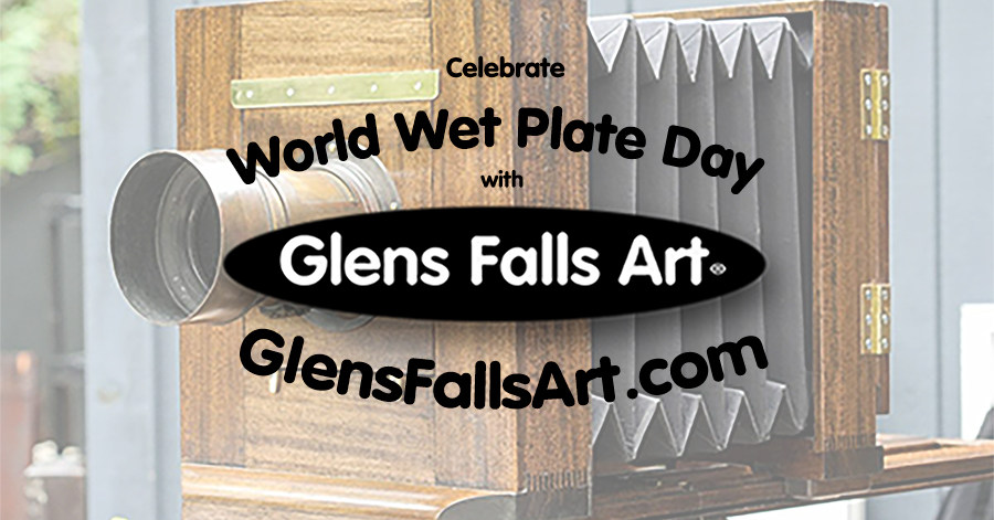 Glens Falls Art logo on Anthony camera background with the world wet plate day and glensfallsart.com