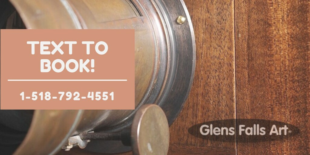19th century lens, the glens falls art logo and the words text to book your portrait session 5187924551
