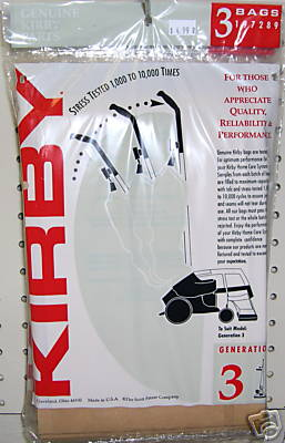 3 Genuine Kirby G3-G6 Diamond Ult. G Vacuum Bags + Belt