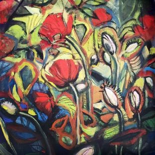 Deb Anderson, 12 by 12 inch oil on canvas, Poppies