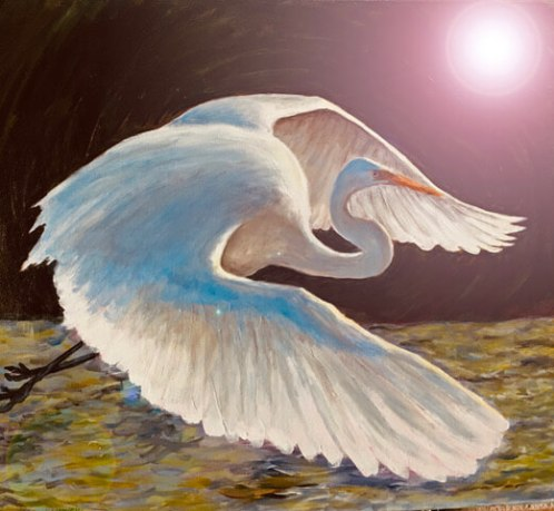 "ADELE SOLL ARONSON, ""ENLIGHTENED EGRET"" MEDIUM: ACRYLIC"