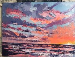 Tim Downs, Sun Light, oil with pallet knife, 9x12 canvas board, nsf