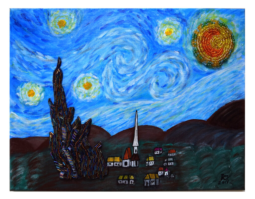 """""""The Starry Night - inspiration of Vincent van Gogh,"""" 2019,14"""" W by 11"""" H, acrylic on canvas with hand-beaded cypress tree and moon, $125 (unframed)"""