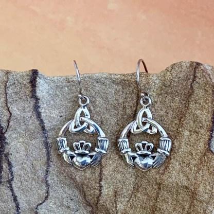 Sterling Claddagh Dangle Earrings