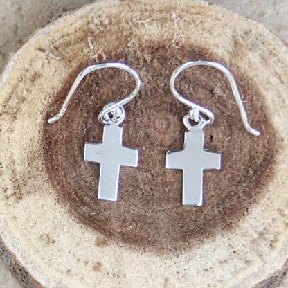 Simple Sterling Cross Earrings